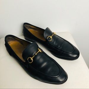 GUCCI Sz39.5 Jordaan Leather Horsebit Loafers
